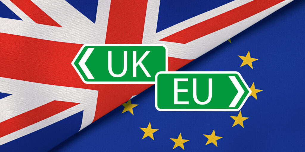 Brexit. EU and UK flags, breaking news background. High quality 3d illustration